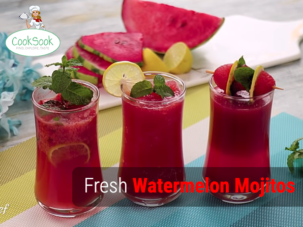 Fresh Watermelon Mojitos