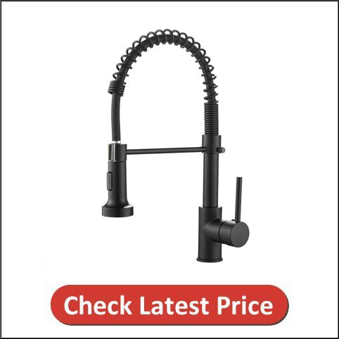 OWOFAN Commercial Solid Brass Single Handle Black Kitchen Faucet